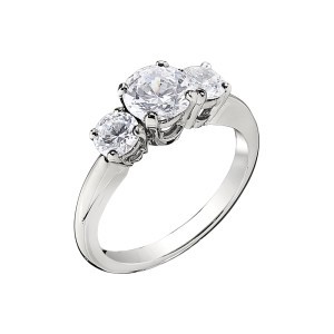 Jabel BL4493 18 Karat White Gold  3 Stone Engagement Ring Mounting ONLY price does not include Diamonds by Jabel