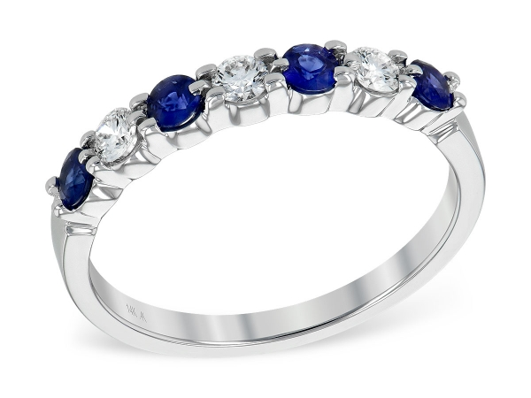 Sapphire And Diamond Wedding Ring With Four Very Fine Quality Round Sapphires And Three Round Diamonds.  Sapphire .35Ct. T.W.  D by Allison Kaufman