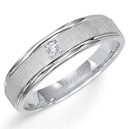 Artcarved 14K White Gold Diamond Wedding Ring.  1) .08Cts., G Color And  Si1-2 Clarity. size 10.5 by ArtCarved
