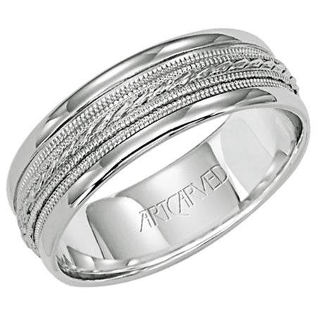 14K White Gold Engraved Fancy Wedding Band size 10 by ArtCarved