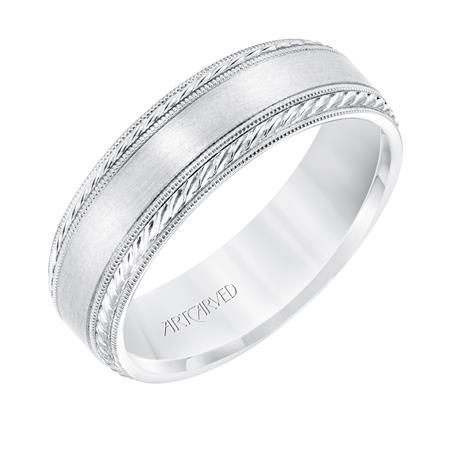 14K White Gold Florentine Band Wedding Band Size 10 by ArtCarved