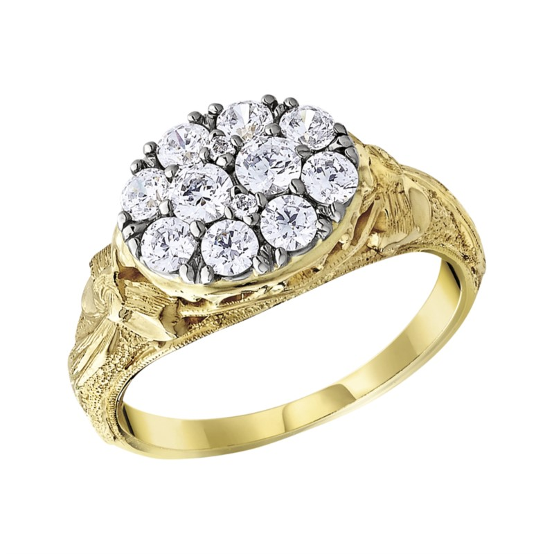 Jabel 18K White Gold Engraved Antique Oval Diamond Cluster with 1.00tw Diamonds Ring size 7 (shown in picture in yellow) by Jabel