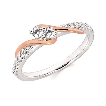 14K White & Rose Gold 2Us Ring With 1.36Ct Tw Diamonds Size 6.5 by Ostbye