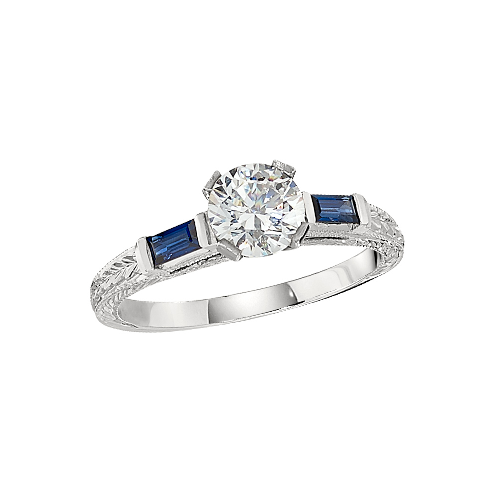 Jabel 18 Karat White Engraved Contemporary Engagement Ring with 2=0.38Tw Baguette Strong Blue Sapphires size 6.5 by Jabel