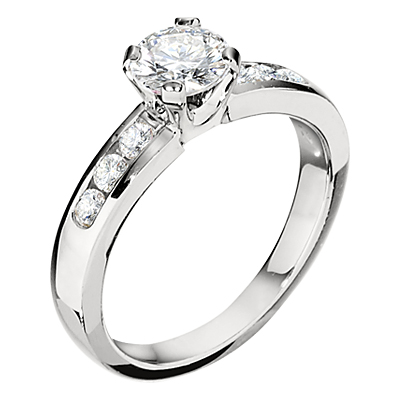 Jabel 18K White Gold Channel Set Diamond Engagement Ring with  .30 ct. t.w. size 61/2 (price does not include cente stone) by Jabel