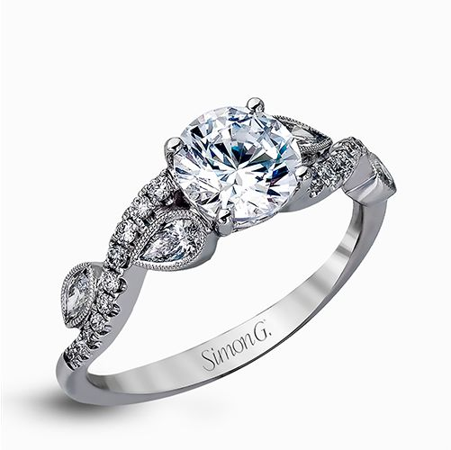 Simon G 18K White Gold Engagement Ring with a wavy shank with 20 prong set diamonds.  1 marquise and 1 pear shape diamond on eac by Simon G