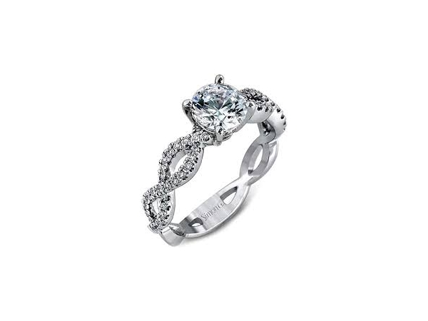 Simon G MR1596 White Platinum Engagement Ring With A Weave Shank With 62 Round Diamonds .27Ct. Total Weight. G/H Color And VS2 C by Simon G