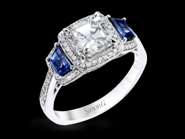 Simon G MR2247-A 18 Karat White Gold Filagree/Antique Engagement Ring With Tapered Emerald Cut Sapphires  .59 Cts. And 66 Full C by Simon G