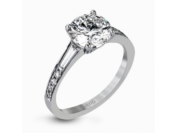 Simon G MR2220ER 18 Karat White Gold Prong Set diamond engagement ring 8 full cut round diamonds and 2 tappered baguette diamond by Simon G