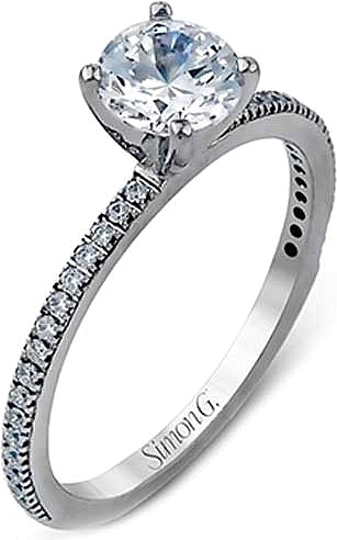 Simon G 18K White Gold Semi-Mount Engagement Ring With 34=0.14Tw Round G Vs2 Diamonds  Size 6.5 (price does not include center s by Simon G