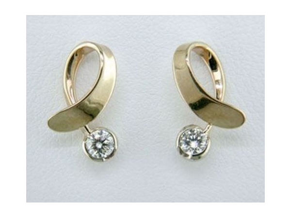 Tom Kruskal 14K White Gold Off Side Earrings with .30tw Round Diamond Earrings by Tom Kruskal