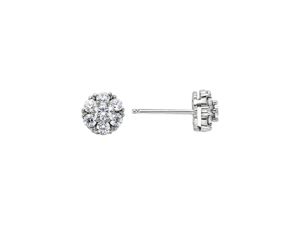 18K White Gold Cluster Earrings With 1.00 Twt Diamond by Jabel