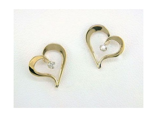 Tom Kruskal 14K Yellow Gold Open Heart Earrings with .04tw Round Diamond Earrings by Tom Kruskal