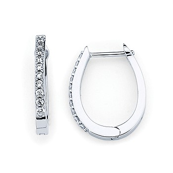 14k White gold Oval Hoop Earrings with 20 count .20tw Round Diamonds by Ostbye