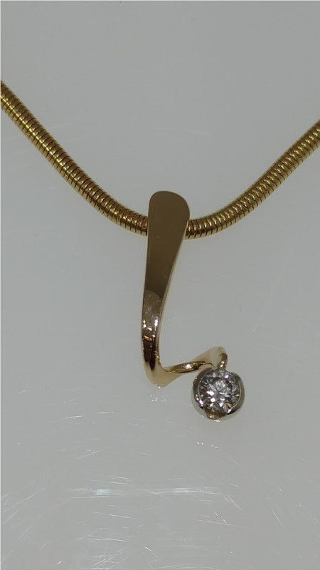 "Tom Kruskal 14K Yellow Gold Swirl Pendant with .15tw Diamond on a 20"" Snake Chain by Tom Kruskal"