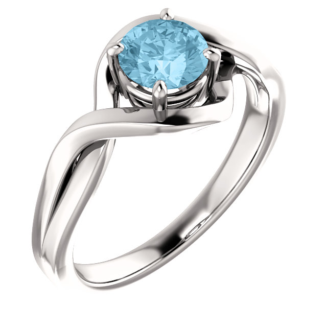 14K White Gold 4 Prong With 5.2Mm Round Aquamarine Ring by Stuller