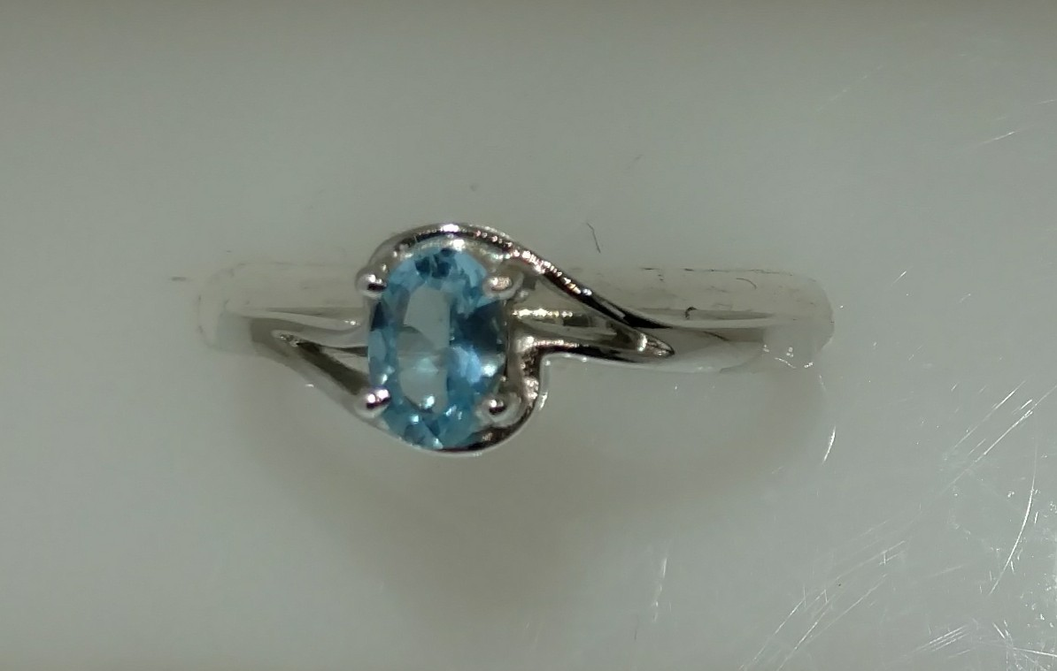 14K White Gold By Pass With 6X4 Oval Aquamarine Ring Size 5.75 by Stuller