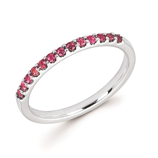 14K White Gold Pink Tourmaline Band Ring by Ostbye