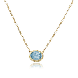"18-19"" 14K Yellow Gold Anchor Link Chain with  8X6 Oval Blue Topaz Pendant by Carla/Nancy B"