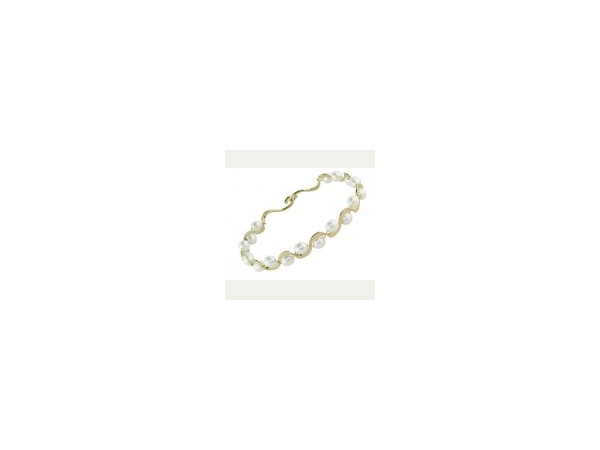 Tom Kruskal 14K White gold Freshwater Pearl Ruffle Bangle by Tom Kruskal
