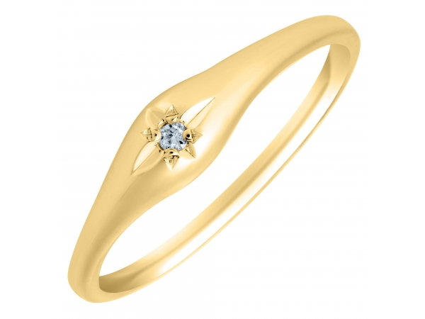 14K Yellow Gold Childs Diamond Ring Size 4 by Cape Cod Jewelry