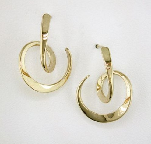 Tom Kruskal 14K Yellow Gold Looping Circle Earrings by Tom Kruskal