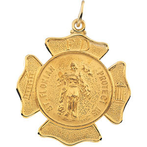 14KT YELLOW GOLD ST. FLORIAN MEDAL 25 MM by Stuller