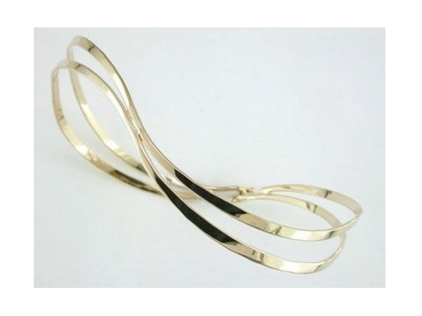 Tom Kruskal 14K Yellow Gold Double Wave Bangle by Tom Kruskal
