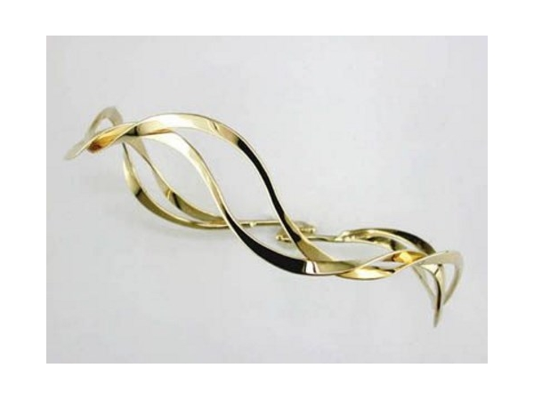 Tom Kruskal 14K Yellow Gold Ocean Waves Bangle by Tom Kruskal