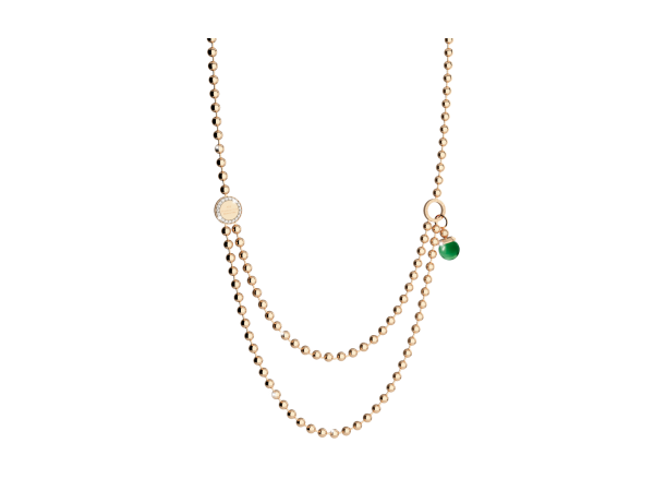 Rebecca Bronze with 24K Rose Gold overlay with Green bead necklace by Rebecca