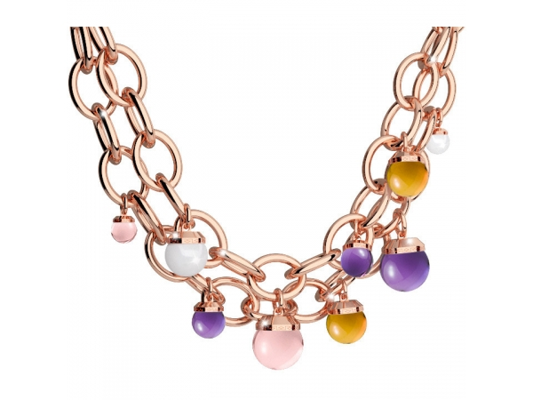 Rebecca Bronze with 24K Rose Gold Plated with Lab Created Amethyst, Citrine & Rose Quartz & Swarovski Crystal Pearl Necklace by Rebecca