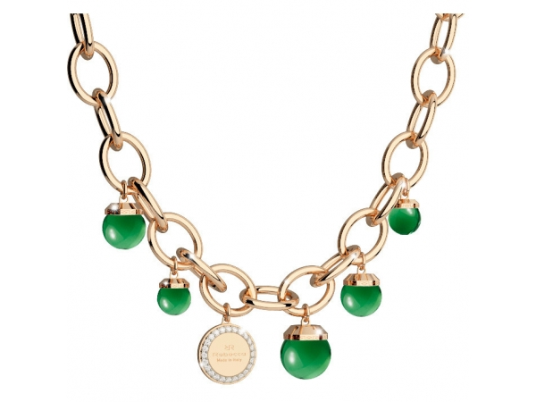 Bronze with 24K Rose Gold Plated Necklace with Lab Created Emerald Beads by Rebecca