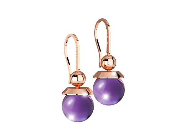 Rebecca 24K Rose Gold over Bronze with Lab Created Amethyst Bead Dangle Earrings by Rebecca
