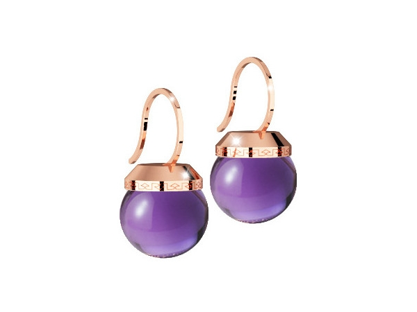 Rebecca 24K Rose Gold over Bronze with Lab Created Amethyst Bead Drop Earrings by Rebecca
