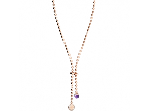 Rebecca 24K Rose Gold Over Bronze with Lab Created Amethyst Bead Necklace by Rebecca