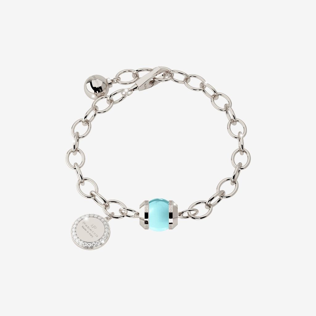 Rebecca Bronze with Rhodium Plated White with Lab Created Blue Topaz Bead Bracelet by Rebecca