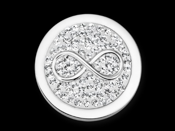 MiMoneda Infinito White Diamond Disc Stainless Steel Small by Mi Moneda