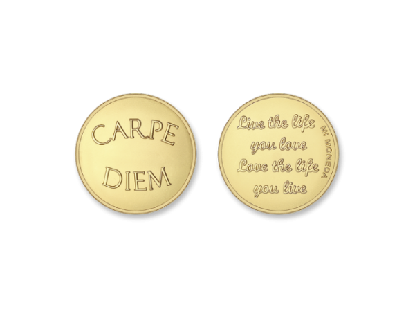 MiMoneda Carpe Diem-Live the Life Gold Plated  Large by Mi Moneda