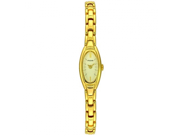 Pulsar Ladies Quartz watch Yellow Stainless Steel Bracelet Oval White Dial by Pulsar