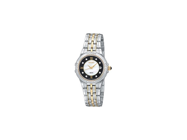 Seiko Ladies Dress Quartz Watchwith 2-Tone Stainless Steel & Black Mother Of Pearl Dial Sapphire Crystal Cabochon Crown Date 8 D by Seiko