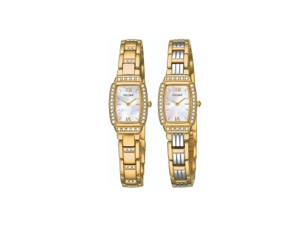 Pulas Ladies Quartz Watch Double Time 2-Tone Stainless Steel Bracelet Mother Of Pearl Dial, Swarovski Crystals by Pulsar