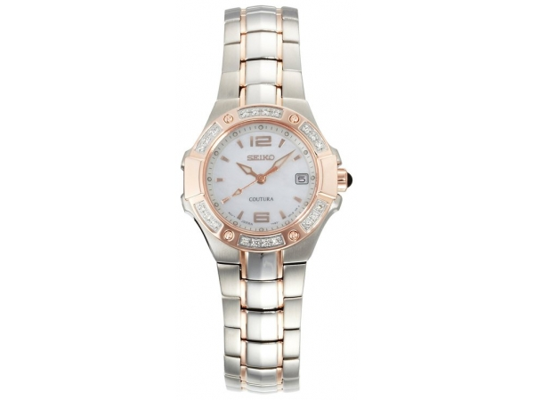 Ladies Dress Quartz Watch Two-Tone Stainless Steel w/Rose Accents Mother Of Pearl Dial Sapphire Crystal Cabochon Crown Date  & 2 by Seiko
