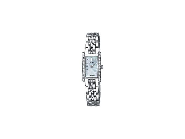 Pulsar Ladies Watch Stainless Steel & Swarovski Crystal With A Mother Of Pearl Rectangular Dial by Pulsar
