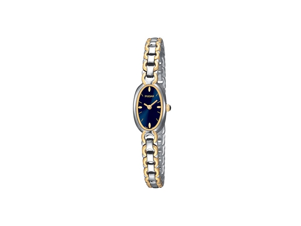 Pulsar Ladies Watch Two Toned/Stainless Steel With an Oval Black Dial by Pulsar