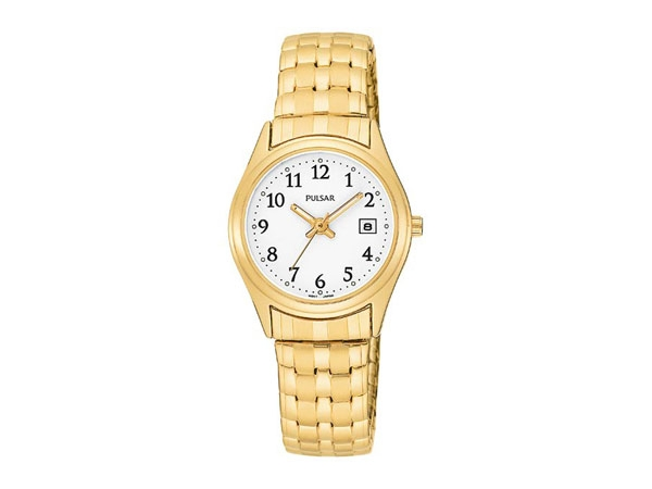 Pulsar Ladies Quartz Watch Yellow Stainless Steel Expansion Band Round White Dial Date, Full Numeral Dial by Pulsar