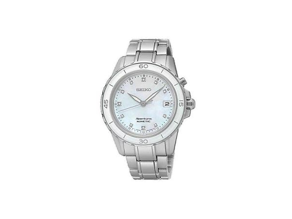 Seiko Ladies Kinetic Watch with White Stainless Steel & Mother Of Pearl Face and Date by Seiko
