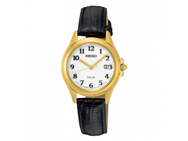 Seiko Ladies Solar Yellow Toned Dress Watch With Leather Strap by Seiko