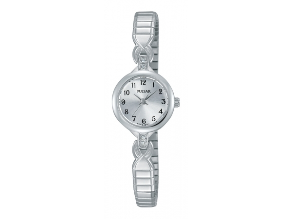 Pulsar Ladies Watch White Expansion Band With Round White Dial by Pulsar
