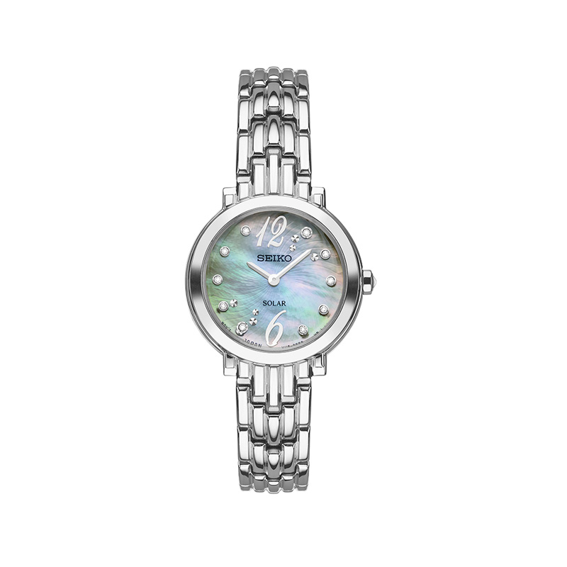 Seiko Ladies Solar watch with mother of pearl face white gold toned bracelet & Deployment clasp by Seiko