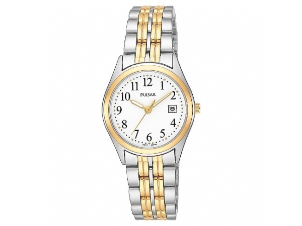 Ladies 2-Tone Stainless Steel Round White Dial Date Pulsar Quartz Watch by Pulsar